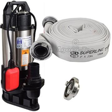 Agora-Tec® AT- Baupumpe-550W Tauchpumpe für Schmutzwasser, Abwasser, für Fäkalien und organische Feststoffe mit Schwimmerschalter und max: 1,1 bar und max: 14500l/h inklusive C - STORZ Kupplung und (C-Schlauch: 20 Meter) -