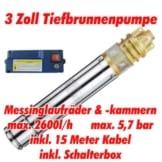 """AT- 3"""" Brunnenpumpe 750W-1 mit 15 m Kabel Edelstahl-Tiefbrunnenpumpe mit Messing-Laufrädern und max: 5,7 bar, 3000l/h bei 7 m -"""
