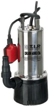 T.I.P. 30136 Tauchdruckpumpe Drain 6000/36 (950 W, max. 6.000 l/h, 34m Förderhöhe, Fremdkörper bis 2 mm, Stufenlos höhenverstellbarer Schwimmerschalter) -