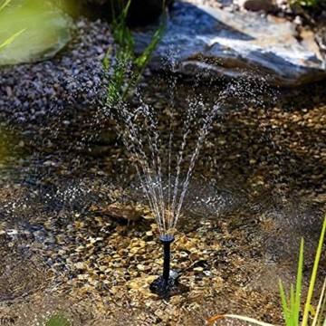 1,1 W Solarpumpe Teichpumpe, GOCHANGE Springbrunnen Pumpe mit 4 Verschiedenen Düsen, Solar Wasserpumpe Fontäne Pumpe für Gartenteich Springbrunnen, 180 L / h , Höhe 0,6 m -