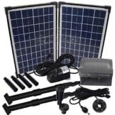 Agora-Tec® AT-20W-BL Beleuchtete Solar Teichpumpe 20 Watt mit Akku und 6 fach LED Ring, Hmax.: 1350l/h Fontainenhöhe: 2,50m für Gartenteich oder Springbrunnen -