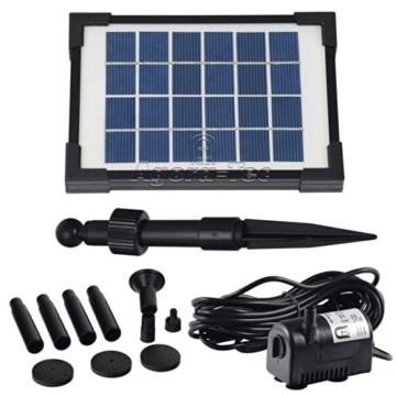 Agora-Tec® AT-2W Solar Teichpumpe 2 Watt Hmax.: 170l/h Fontainenhöhe: 0,65m für Gartenteich oder Springbrunnen -