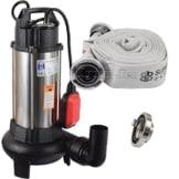 Agora-Tec® AT- Baupumpe-C 1100W (mit Schneidwerk) Tauchpumpe für Schmutzwasser, Abwasser, für Fäkalien und organische Feststoffe mit Schwimmerschalter und max: 0,9 bar und max: 16000l/h inklusive C - STORZ Kupplung und (C-Schlauch: 10 Meter) -