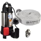 Agora-Tec® AT- Baupumpe-C-750W (mit Schneidwerk) Tauchpumpe für Schmutzwasser, Abwasser, für Fäkalien und organische Feststoffe mit Schwimmerschalter und max: 0,75 bar und max: 14000l/h inklusive C - STORZ Kupplung und (C-Schlauch: 20 Meter) -