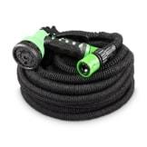 Flexibler Gartenschlauch 30m schwarz - Testurteil SEHR GUT - Black Edition flexiSchlauch Sondermodell von tillvex mit verstärktem Gewebe - inkl. Zubehör - Dehnbarer Wasserschlauch - leicht & robust -