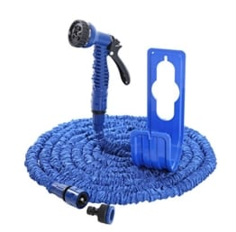 Flexibler Gartenschlauch blau 15m mit Schlauchhalter Wasserschlauch Magic Hose dehnbarer Zauberschlauch (15m) -