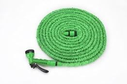 """Flexibler Gartenschlauch Latex Knickfest Wasserschlauch mit Sprühpistole/Brause - Länge 7 bis ca. 22,5 m oder 10 m bis ca. 30 m, dehnbar - kein """"Schlauchsalat"""" Farbe Frei Wählbar (22,5 Meter, Grün) -"""