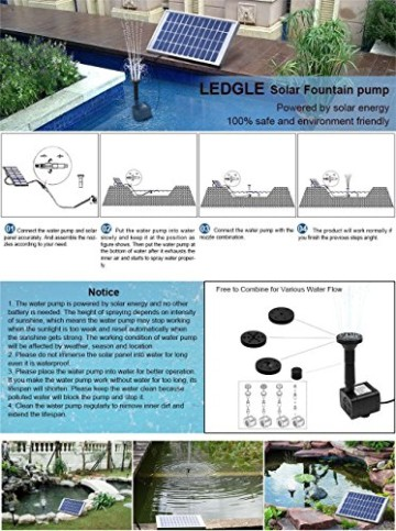 LEDGLE 5W Solarbrunnenpumpe, Garten Wasserpumpe für den Hof, maximaler Durchfluss 380L / h -