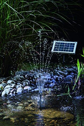 solar teichpumpe 5 watt solarmodul 160 l h f rderleistung mit akku und led beleuchtung 50 cm. Black Bedroom Furniture Sets. Home Design Ideas