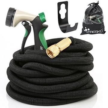 """TRESKO® Flexibler Gartenschlauch, Wasserschlauch flexibel mit 3-fach Latexkern, dehnbarer Bewässerungsschlauch, flexiSchlauch mit hochwertiger 10-fach Multifunktions-Brause aus Metall + Druckregler, inkl. Adapter für 3/4"""" und 1"""" Wasserhahn-Anschluß, alle Verschraubungen aus hochwertigem Messing, inkl. Metall-Aufroller und Tragetasche, bis 10 bar (7,5m) -"""
