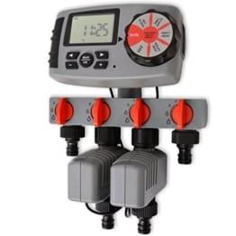 vidaXL Bewässerungscomputer Bewässerungsuhr Kontrol 4 Schlauch-Anschlüssen 3 V -
