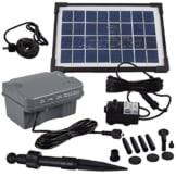Agora-Tec® 3.5W-BL Beleuchtete Solar Teichpumpe 3.5 Watt mit Akku und 3 fach LED Ring, Hmax.: 210l/h Fontainenhöhe: 0,80 m für Gartenteich oder Springbrunnen - 1