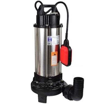 Agora-Tec® AT- Baupumpe-C 1300W (mit Schneidwerk) Tauchpumpe für Schmutzwasser, Abwasser, für Fäkalien und organische Feststoffe mit Schwimmerschalter und max: 1,05 bar und max: 17500l/h - 1