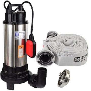 Agora-Tec® AT- Baupumpe-C 1300W (mit Schneidwerk) Tauchpumpe für Schmutzwasser, Abwasser, für Fäkalien und organische Feststoffe mit Schwimmerschalter und max: 1,05 bar und max: 17500l/h inklusive C - STORZ Kupplung und (C-Schlauch: 10 Meter) - 1