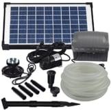 Agora-Tec® AT-Solar Bachlaufpumpen - Set 10W-BLH mit Akku und 6- fach LED Ring inklusive 9 Meter Bachlaufschlauch und LED Halterung, Hmax.: 600l/h Förderhöhe: 2,45 m bei Verwendung eines Schlauches - 1