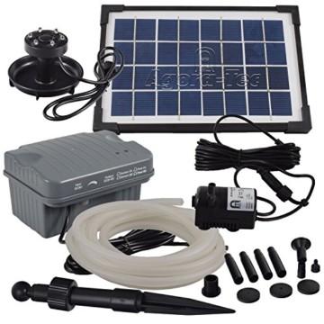 Agora-Tec® AT-Solar Bachlaufpumpen - Set 3.5W-BLH mit Akku und 3- fach LED Ring inklusive 5 Meter Bachlaufschlauch und LED Halterung, Hmax.: 210l/h Förderhöhe: 1,00 m bei Verwendung eines Schlauches - 1