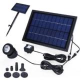Anself Solar Teichpumpe Solar-Brunnen Waßerpumpe mit 6 LED Beleuchtung und Akku 10V 5W - 1