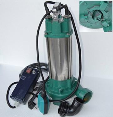 Fäkalienpumpe Tauchpumpe Schmutzwasserpumpe IBO2200, 2200Watt Spannung: 230V/50Hz Fördermenge: 24000l/h / 400l/min. mit Cutter zum zerkleinern organischer Festststoffe mit Überspannungsschutz + Abschaltautomatik die die Pumpe vor Schäden schützt. - 1