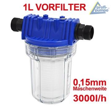 FILTER VORFILTER PUMPENFILTER 1000-1 für HAUSWASSERWERK HAUSWASSERAUTOMAT KREISELPUMPE JETPUMPE BRUNNENPUMPE PUMPE TAUCHPUMPE FEINFILTERUNG bei WASCHMASCHINEN, SCHALTGERÄTEN, KREISELPUMPEN etc. 1L max. 3000L/h Maschenweite: 0,15mm - 1