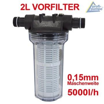 FILTER VORFILTER PUMPENFILTER 1000-1 für HAUSWASSERWERK HAUSWASSERAUTOMAT KREISELPUMPE JETPUMPE BRUNNENPUMPE PUMPE TAUCHPUMPE FEINFILTERUNG bei WASCHMASCHINEN, SCHALTGERÄTEN, KREISELPUMPEN etc. 1L max. 3000L/h Maschenweite: 0,15mm - 5