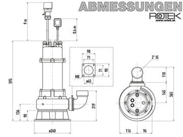 Rotek 1,5kW / 400V elektrische Schmutzwasser Tauchpumpe mit Schneidwerk und Stahlgehäuse - 3