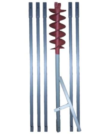 "6m Erdbohrer mit 120mm Bohrkopf ----""VERLÄNGERBAR""---- auch als Brunnenbohrer, Handerdbohrer, Erdlochbohrer, Brunnenbohrgerät, Pflanzbohrer, Zaunbohrer, Pfahlbohrer uvm. einsetzbar ! - 1"