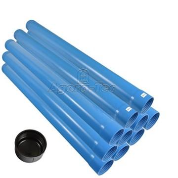 Agora-Tec® 3 Zoll DN 80 Brunnenrohr - Set (10 Meter) mit 8 Meter Vollwandrohr, Endkappe und 2 Meter Filterrohr mit einer (Schlitzweite: 0.5mm) - 1