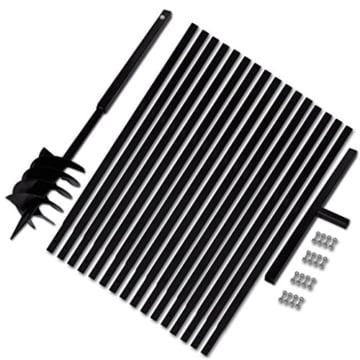 Festnight Metall Bohrer Erdbohrer Erdbohrgerät 180 mm Handerdbohrer mit Griff + 16x Verlängerungsrohr für Lochbohrungen - 1