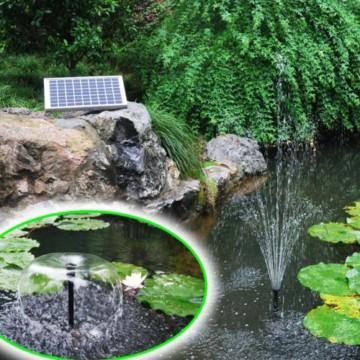 Agora-Tec® AT-10W-BL Beleuchtete Solar Teichpumpe 10 Watt mit Akku und 6 fach LED Ring, Hmax.: 600l/h Fontainenhöhe: 1,50m für Gartenteich oder Springbrunnen - 2