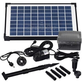 Agora-Tec® AT-10W-BL Beleuchtete Solar Teichpumpe 10 Watt mit Akku und 6 fach LED Ring, Hmax.: 600l/h Fontainenhöhe: 1,50m für Gartenteich oder Springbrunnen - 1