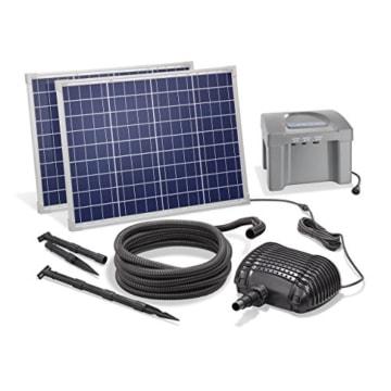 Solar Bachlaufset 100W Solarmodul 3400 l/h mit Akkuspeicher 12V/24Ah Förderleistung 3m Förderhöhe inkl. 5m Schlauch 32mm Bachlaufpumpe esotec pro Komplettset 101085 - 1