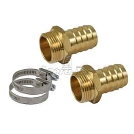 Agora-Tec® Schlauchanschluss SET für 1 Zoll (25,4mm) Schlauch mit 2 Messing Schlauchtüllen 1 Zoll AG (33,3mm), 2 Edelstahlschlauchschellen und 2 Meter Loctite Gewindefaden - 1