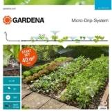 GARDENA 13015-20 Micro-Drip Start Set Pflanzflächen, ideales Einsteiger-Set zur Bewässerung von bis zu 40m² Blumenbeet/Nutzgartenbeet, enthält zahlreiche Systemteile zum Aufbau einer Bewässerungsanlage für Ihre Pflanzen - 1