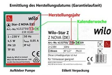 Wilo 4132752 Trinkwassser- Zirkulatiospumpe Star-Z PN 10 NOVA C, Rp 1/2 Zoll - 2