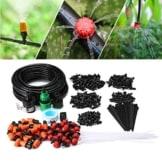 KINGSO Auto Bewässerungssystem Garten Bewässerung verstellbar Zerstäuberfunktion Kits System DIY pflanzen Wasser Gartenschlauch Automatische Kits (Wasser/Klebeband Schnellverbinder) Flow Drip (15 meter Schläuche Set) - 1